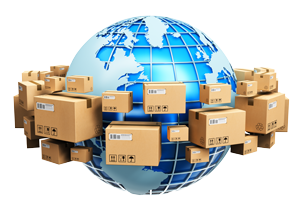 Blue Earth planet globe surrounded by heap of stacked corrugated cardboard boxes with parcel goods isolated on white background